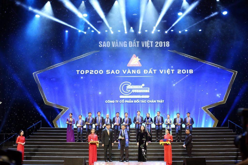"""Đối Tác Chân Thật vinh dự nhận danh hiệu  """"Top 200 giải thưởng Sao Vàng đất Việt năm 2018"""""""